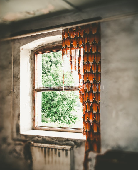 old window with curtain