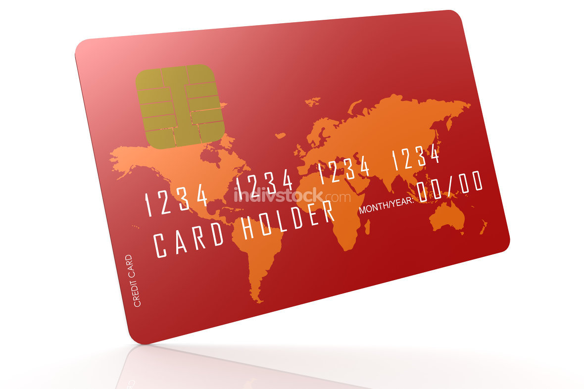 Red credit card on reflection floor