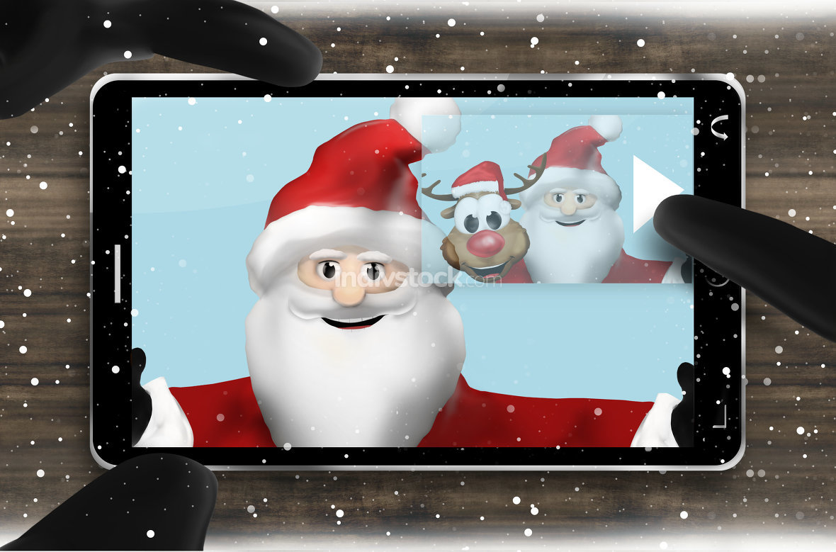 Santa Claus Browsing Selfie Photos