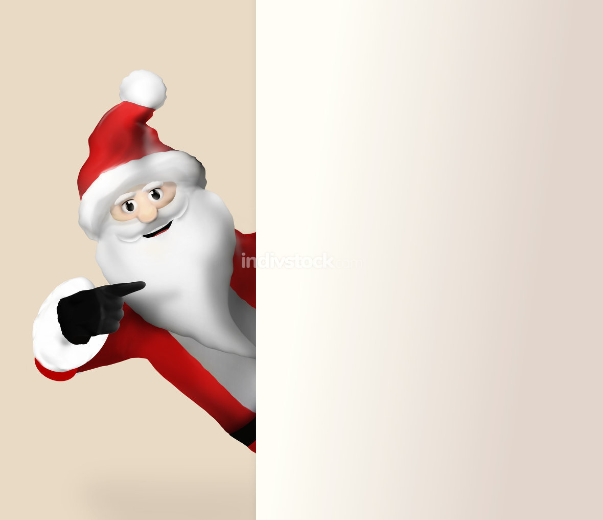 Santa Claus pointing to banner