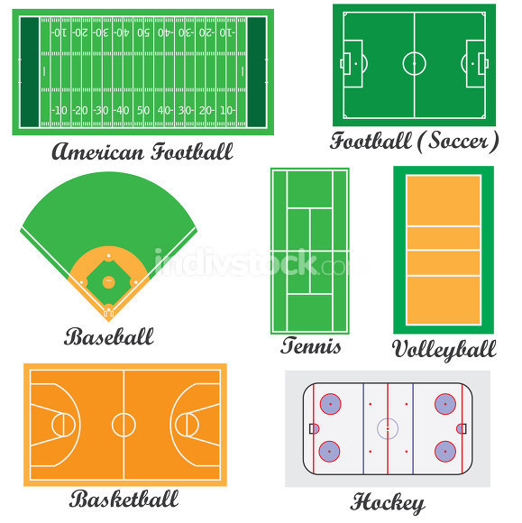 Set of fields for sport games.