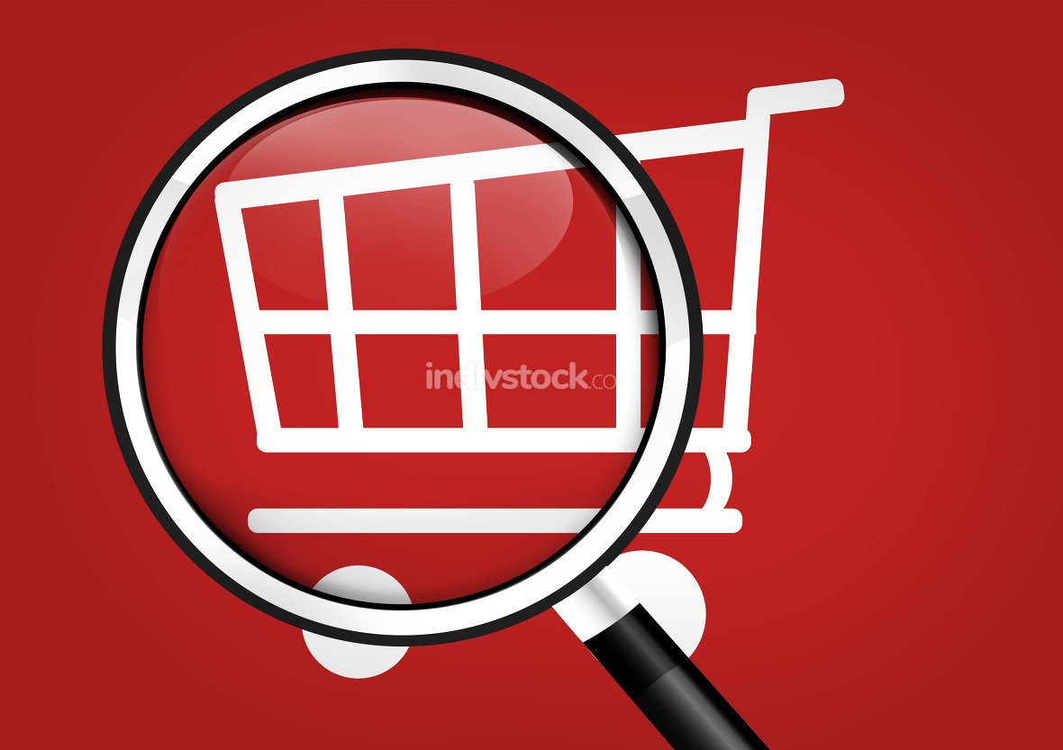 Shopping Cart magnifying glass