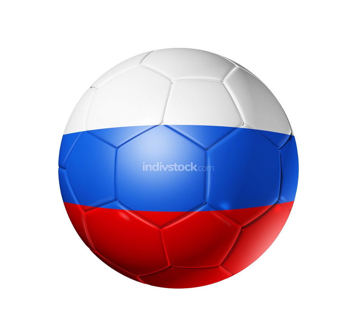 Soccer football ball with Russia flag