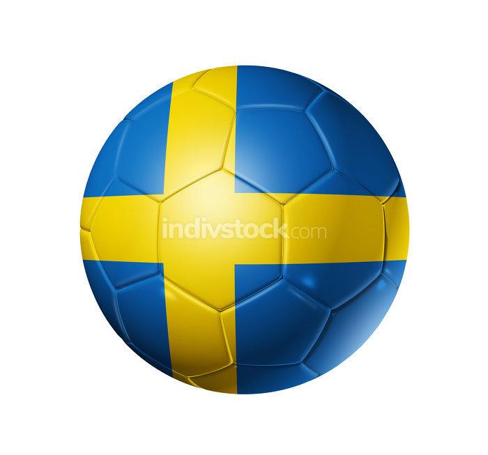 Soccer football ball with Sweden flag