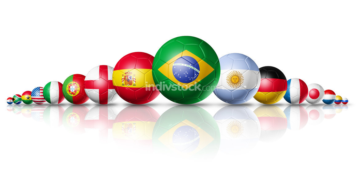 Soccer football balls group with teams flags