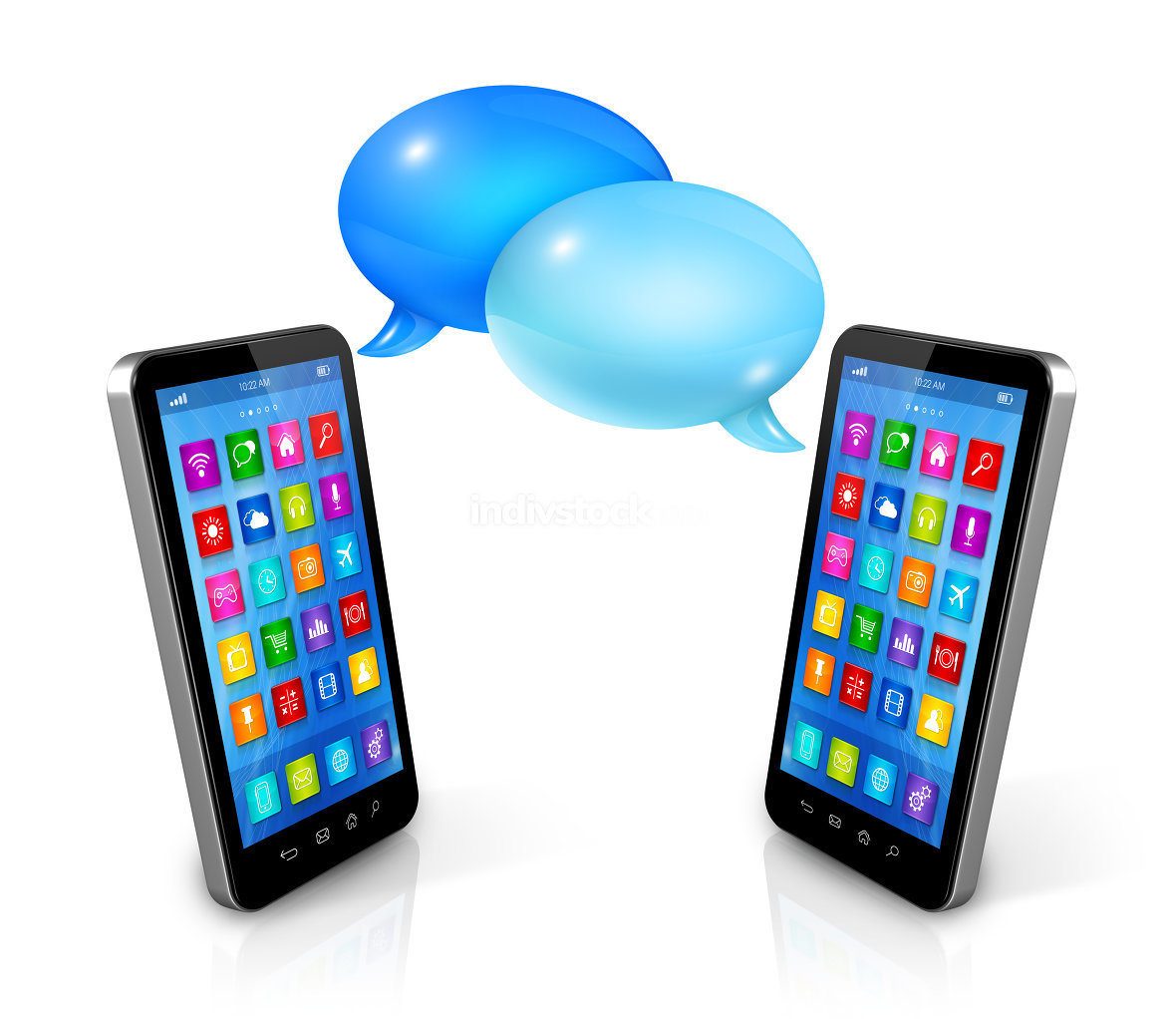 Speech bubbles and mobile phones