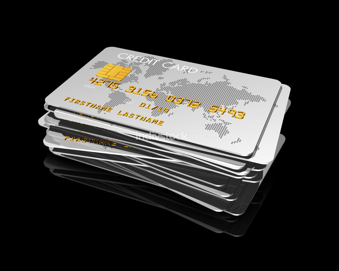stack of silver credit cards