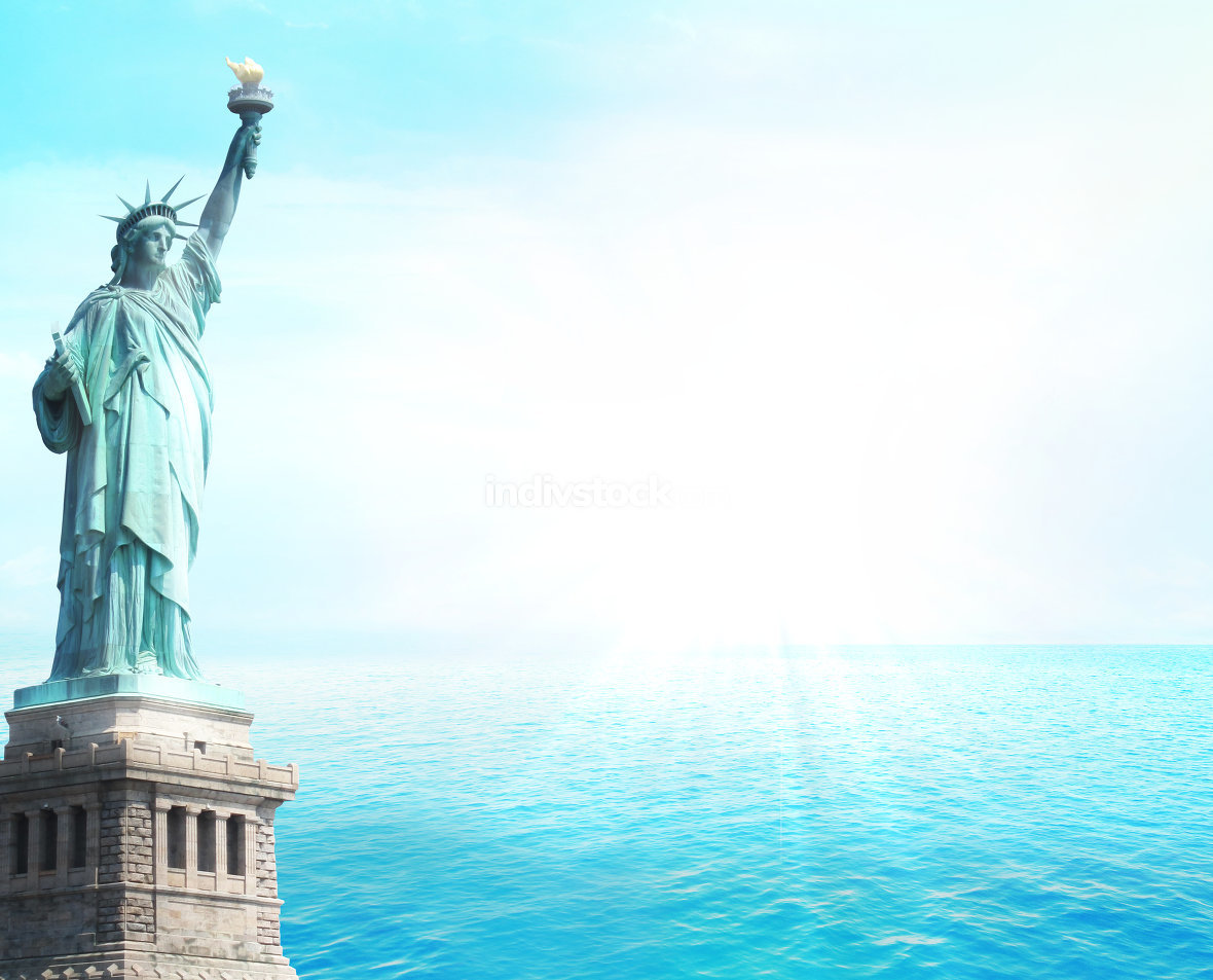 statue of liberty ocean open water sunshine sun