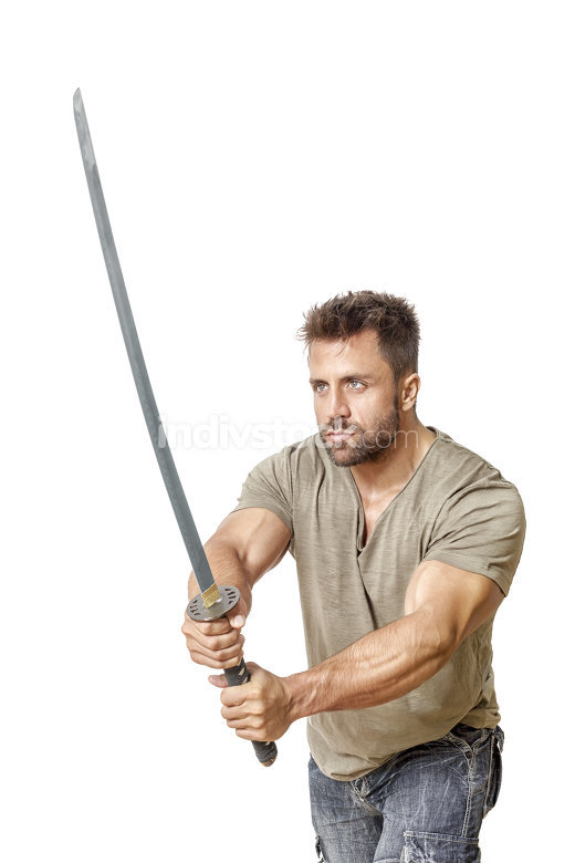 strong man with a sword