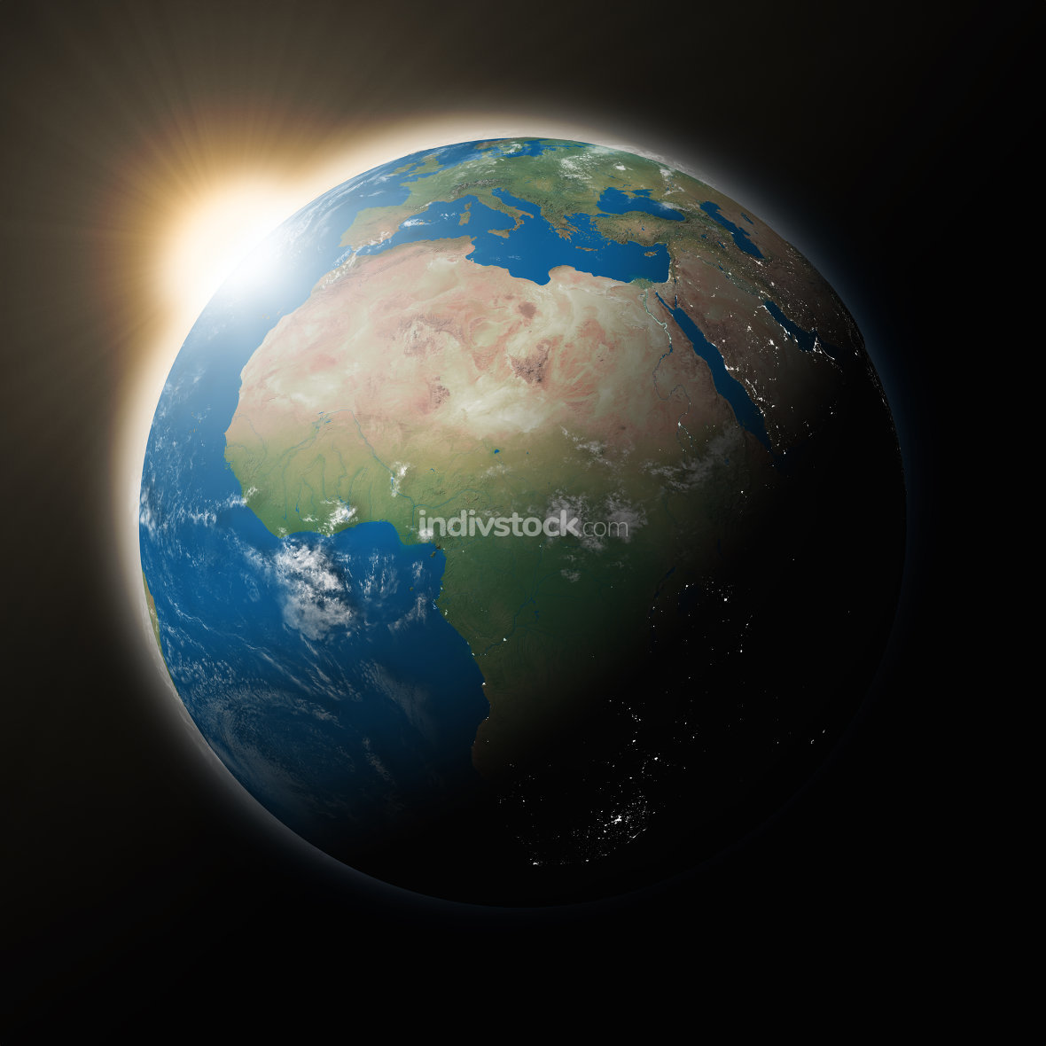 Sun over Africa on planet Earth. Elements of this image furnished by NASA.