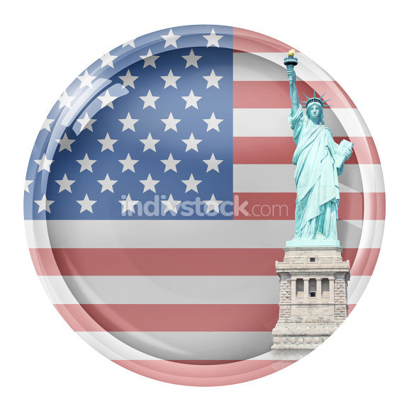 United States of America Glass Button