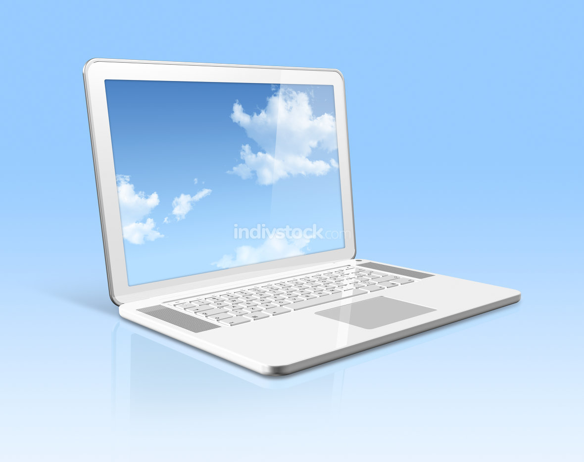 White laptop computer with sky screen isolated on blue