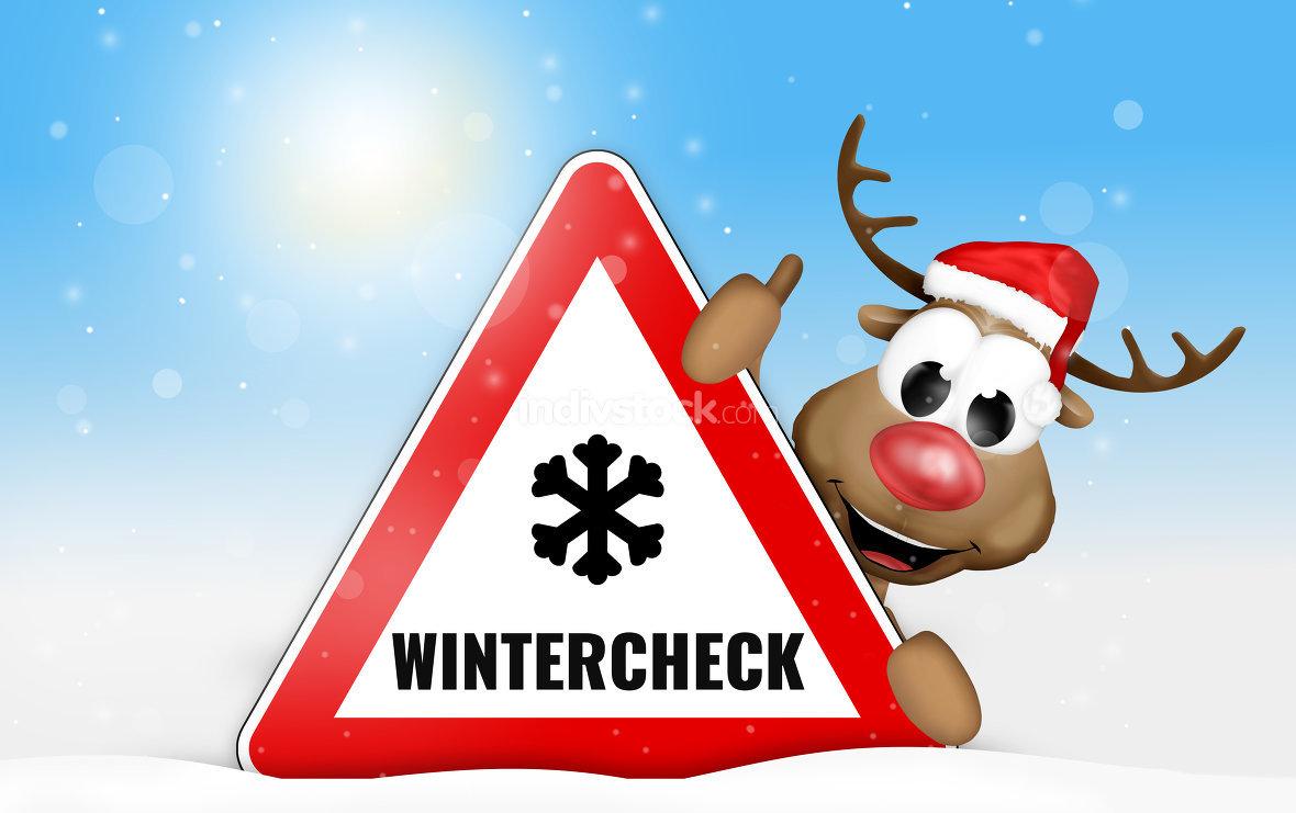 Wintercheck Rentier Schild