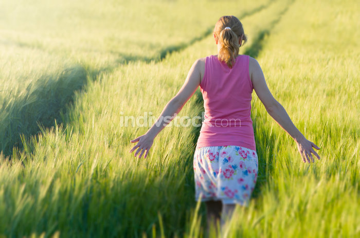 Woman in Barley Field