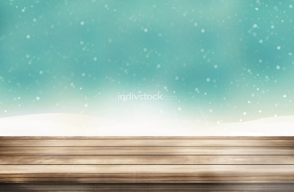 wood desk winter snow sky