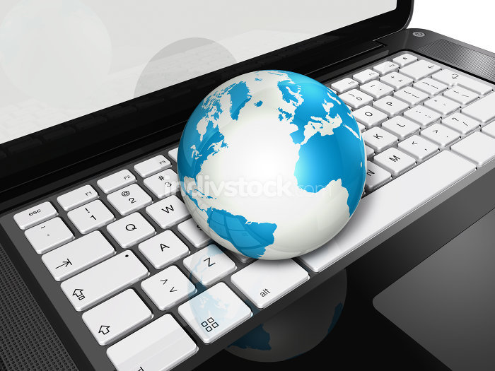 World globe on a laptop computer