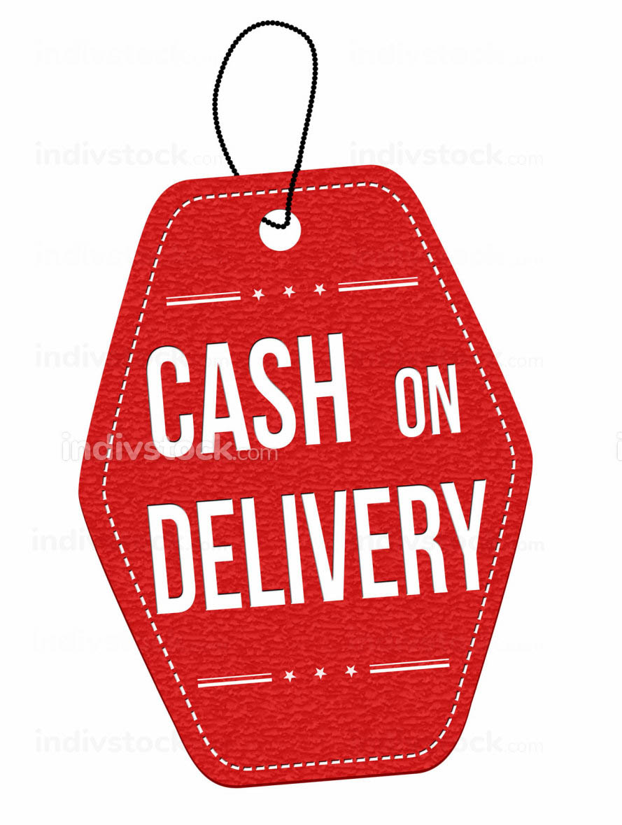Cash on delivery label or price tag