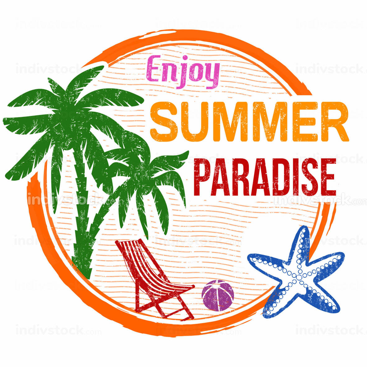 Enjoy summer paradise stamp