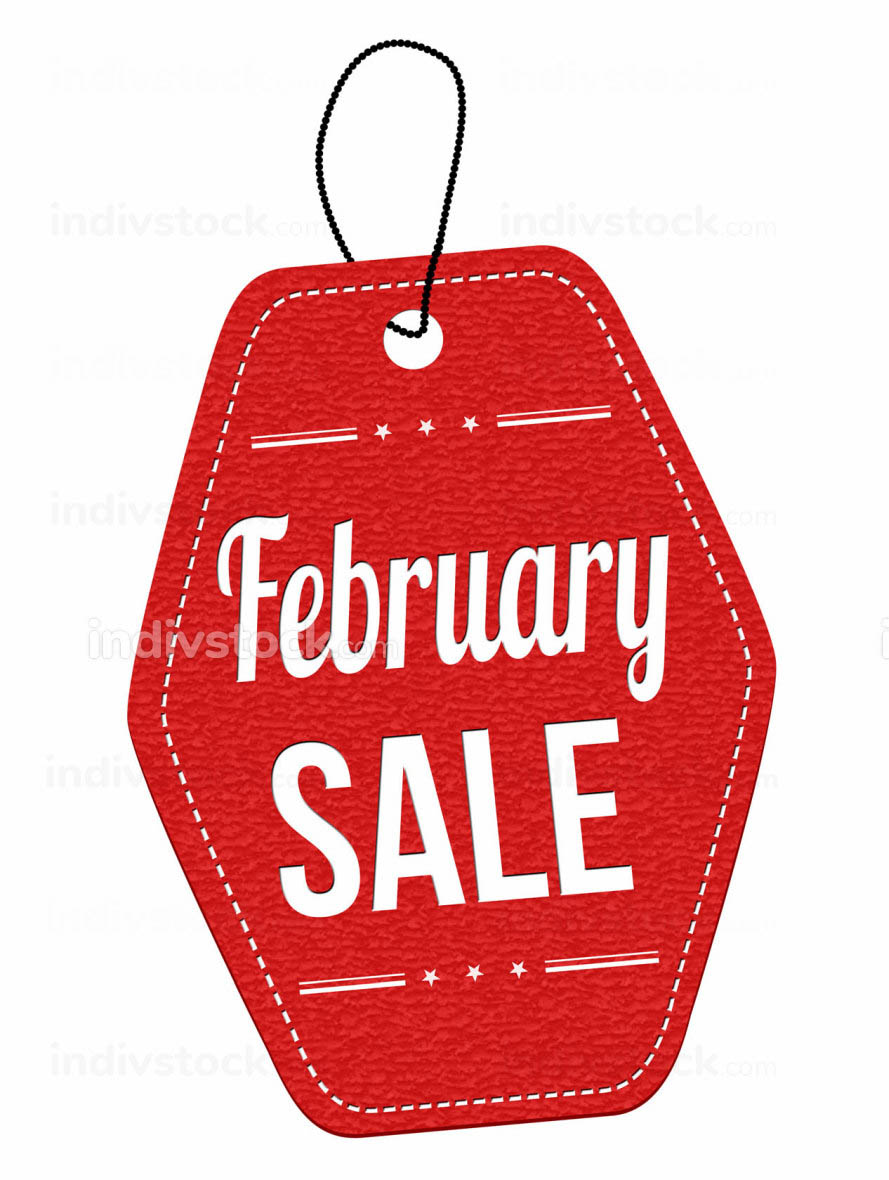 February sale label or price tag
