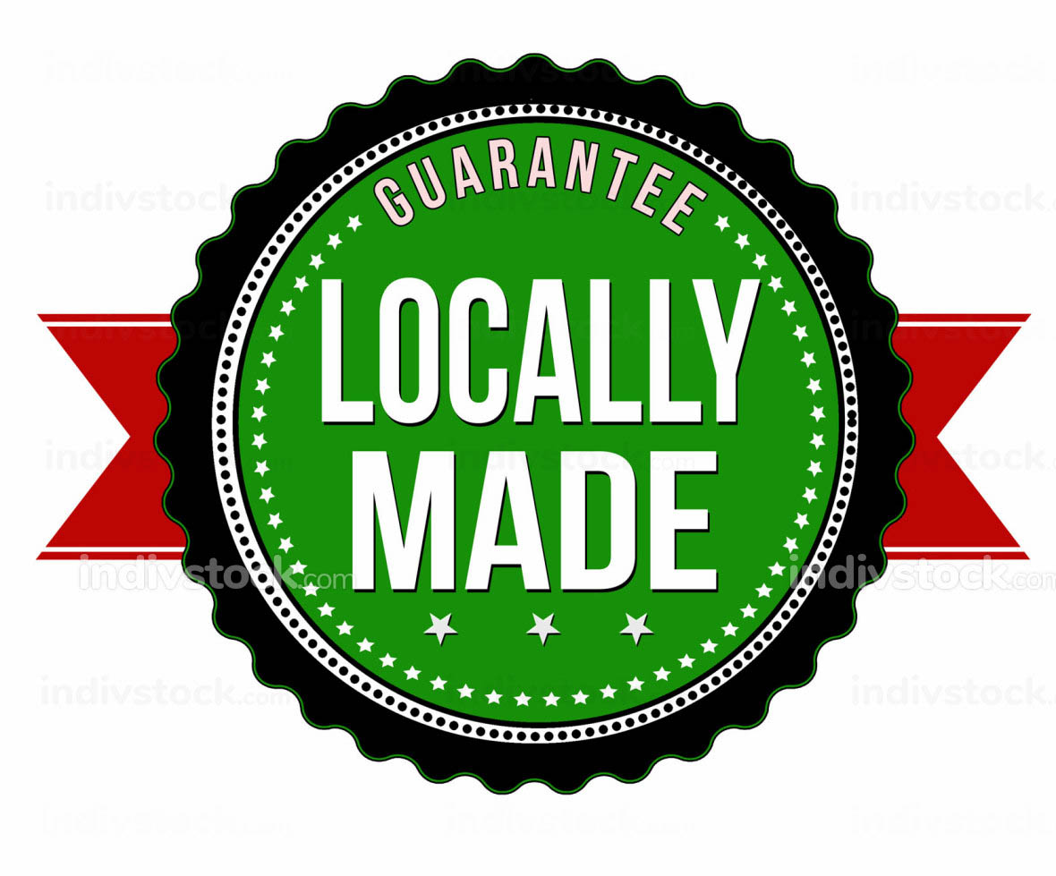 Locally made sticker or badge
