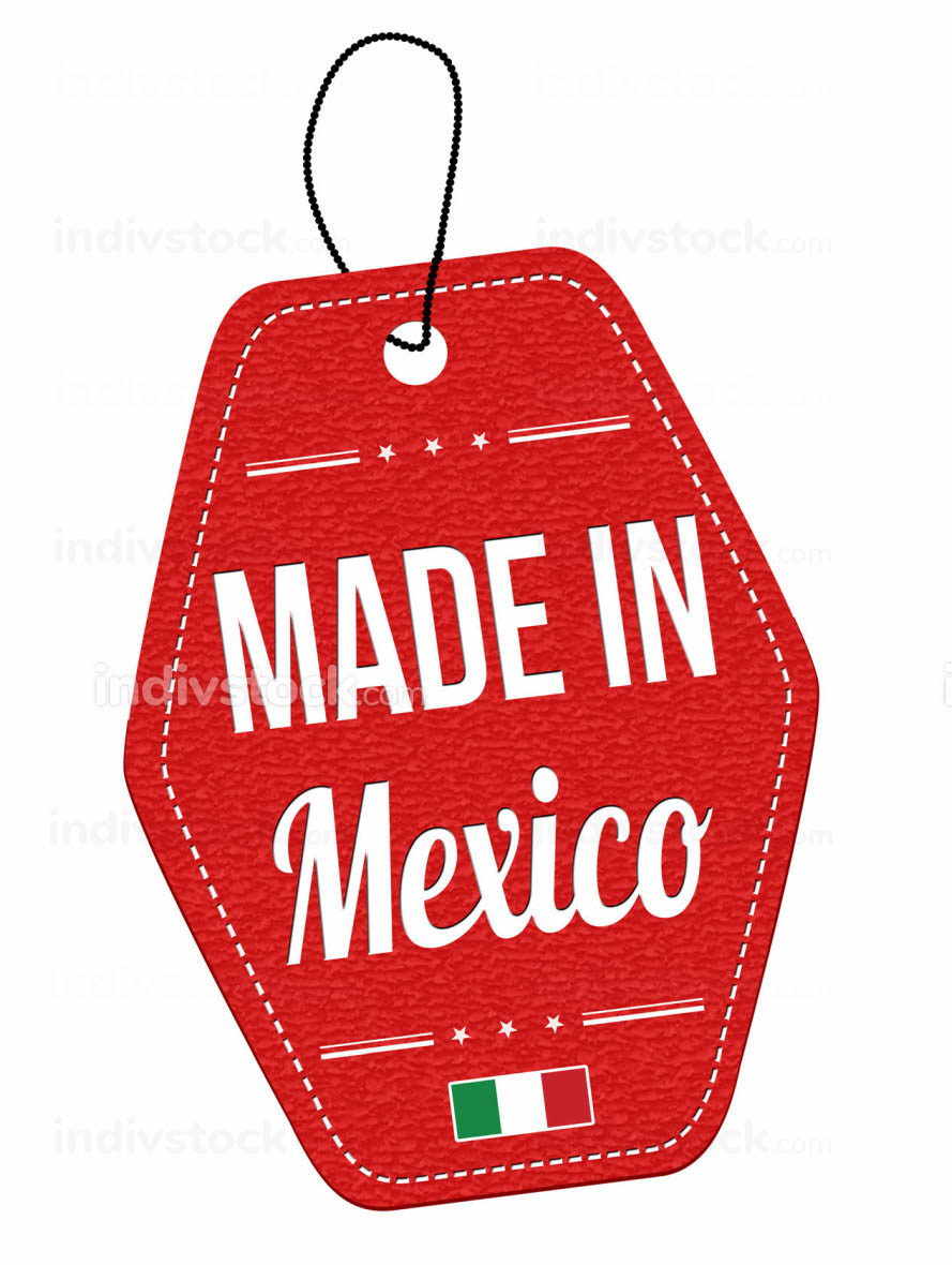 Made in Mexico label or price tag