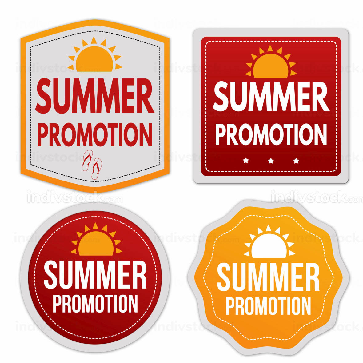 Summer promotion stickers set