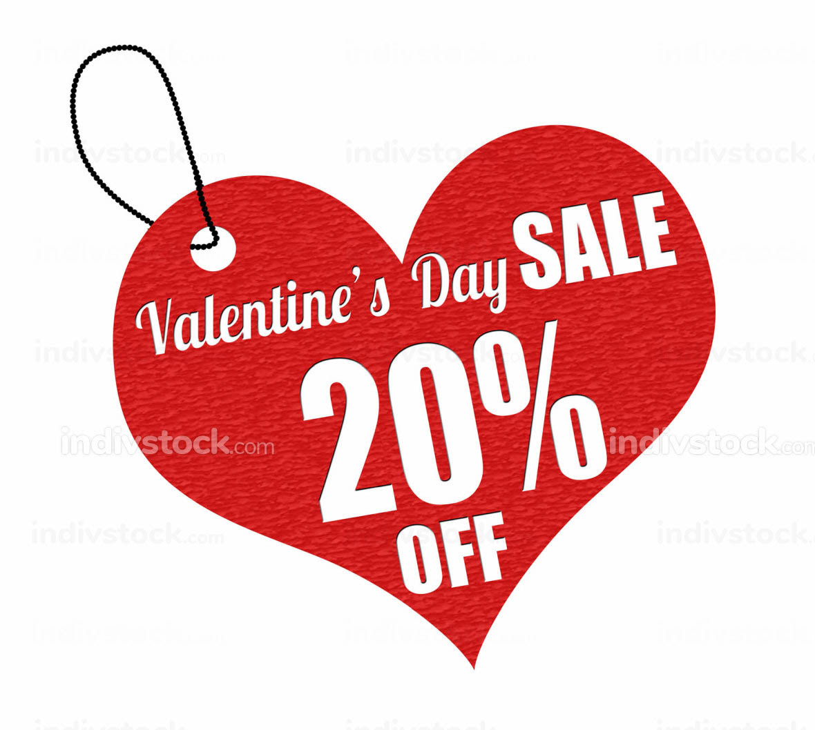 Valentines sale 20 percent off label or price tag
