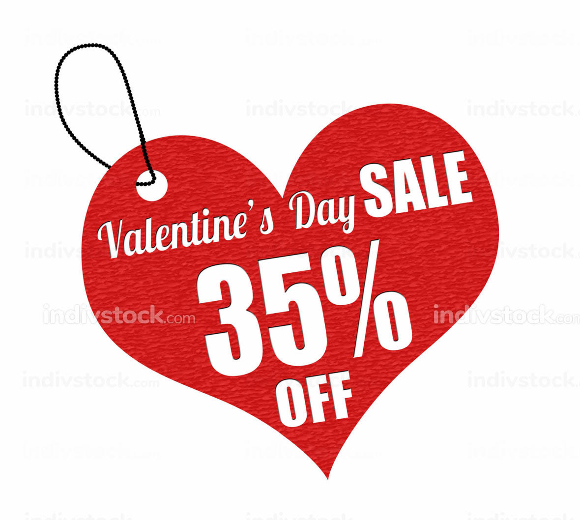 Valentines sale 35 percent off label or price tag