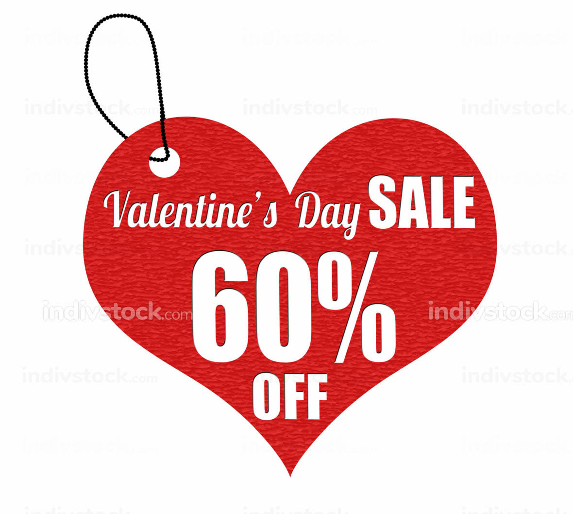Valentines sale 60 percent off label or price tag