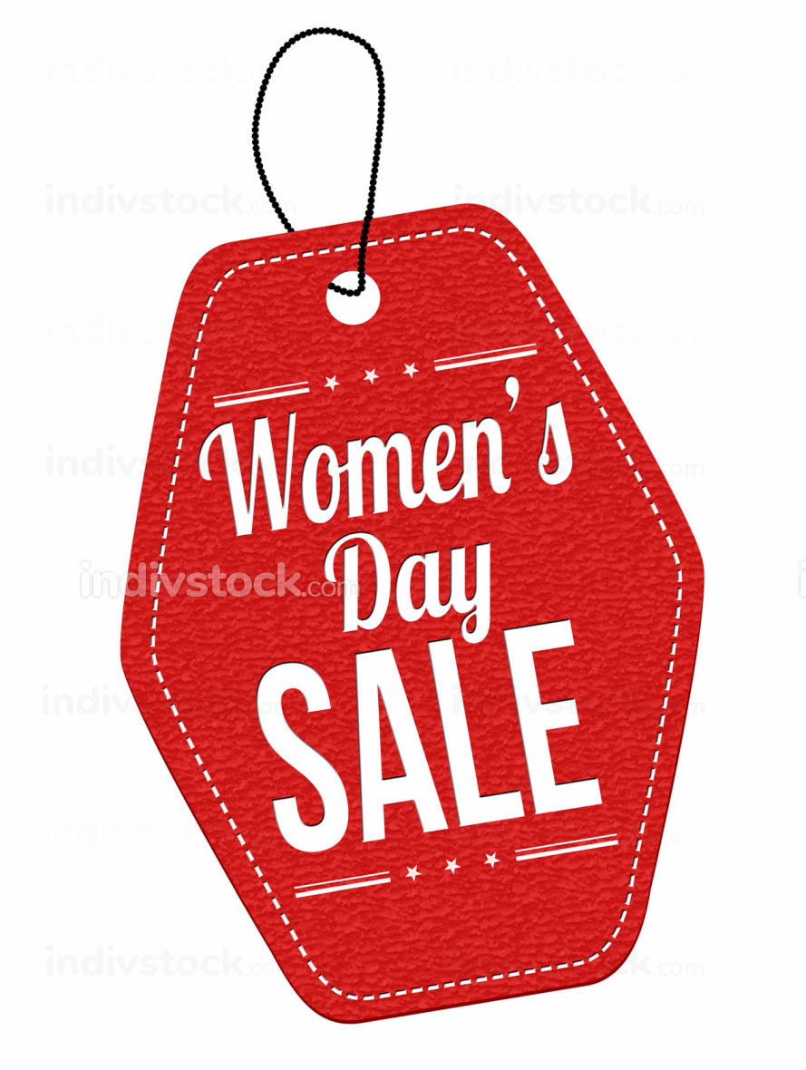 Women's day sale label or price tag