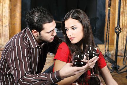 couple in love near fireplace
