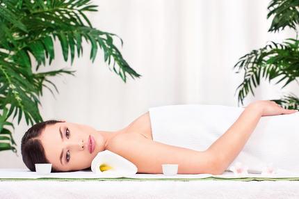 brunette resting after massage