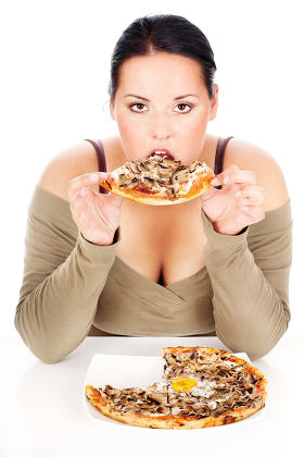 chubby woman and tastefully pizza