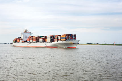 Container ship on river Elbe