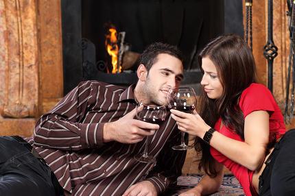 couple near fireplace