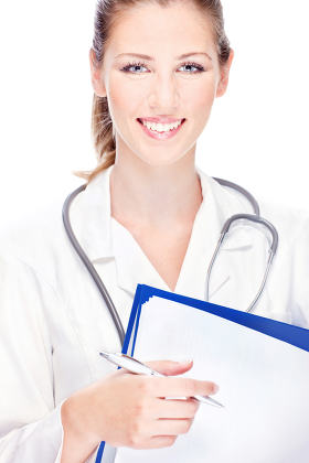 doctor with papers and stethoscope
