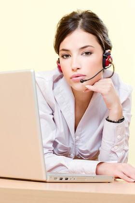 female operator near computer