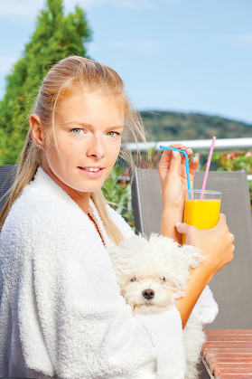 morning juice on terrace with dog