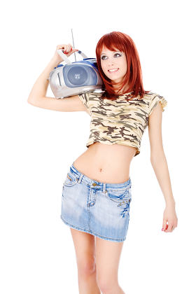 radio on her shoulder