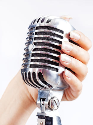retro microphone in woman