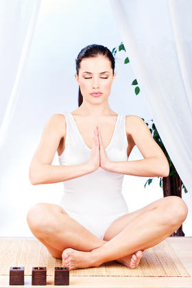 woman at yoga relaxation