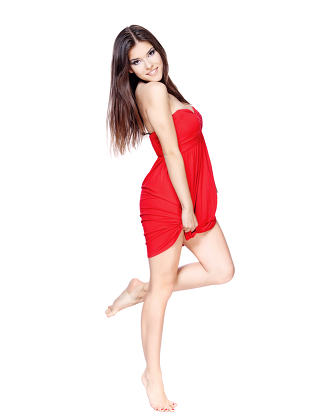woman in red dress barefoot