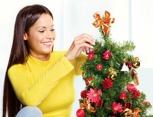 woman near christmas tree