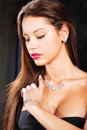 woman with jewelry and long hair