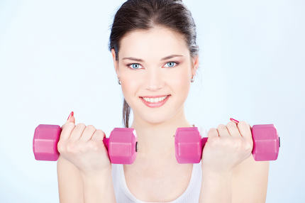 woman with two weights