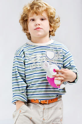 Young model with his toy