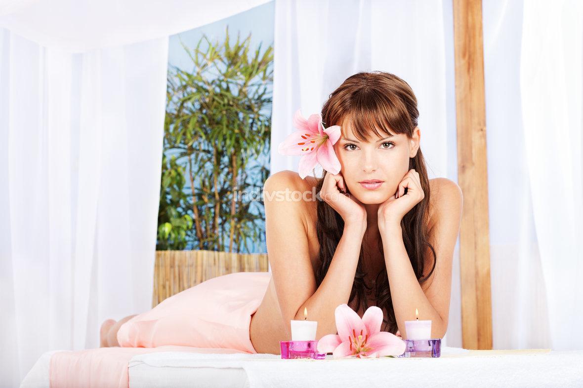 Woman resting in spa salon