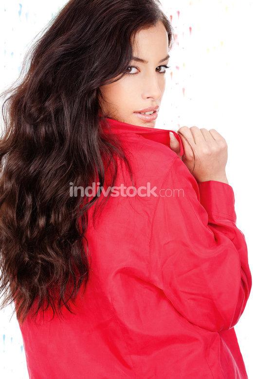 black hair woman in a red shirt