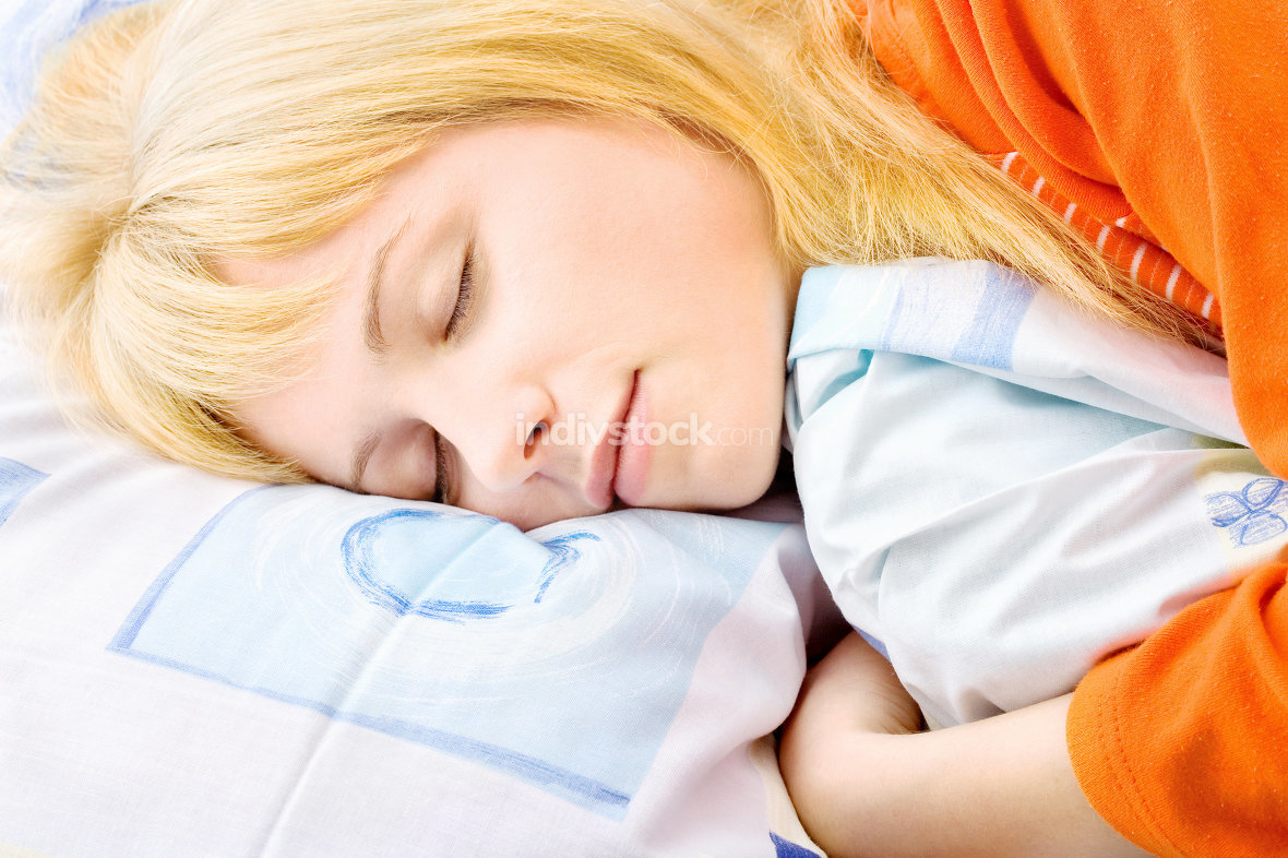Blond woman sleeping