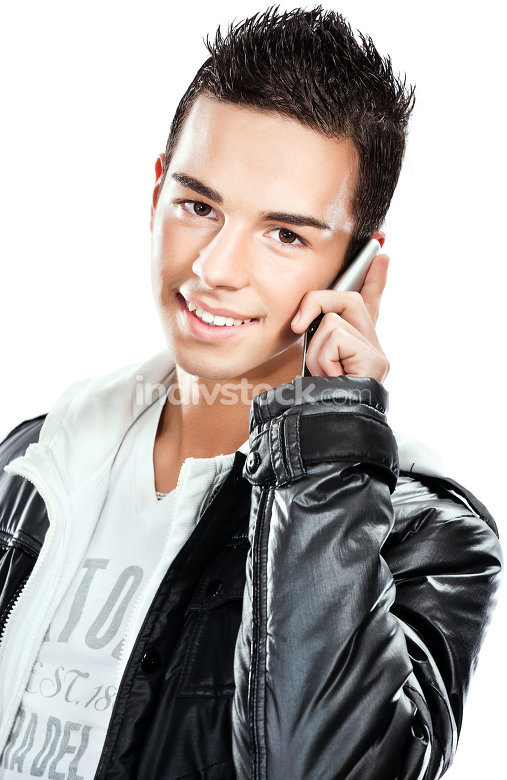 boy talking over mobile phone